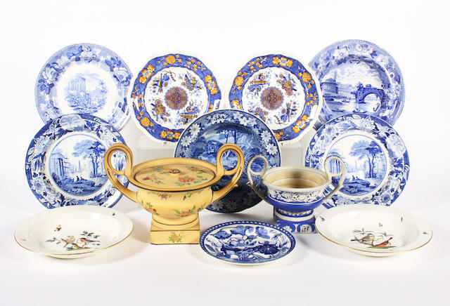 A group of blue and white printed earthenwares