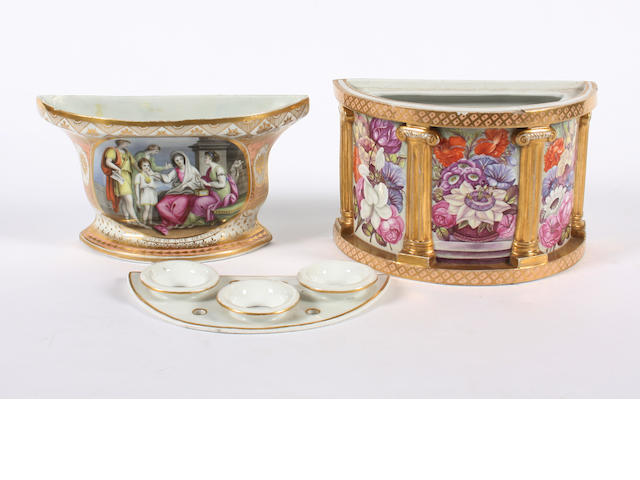 A Chamberlain bough pot and another English porcelain bough pot, early 19th century