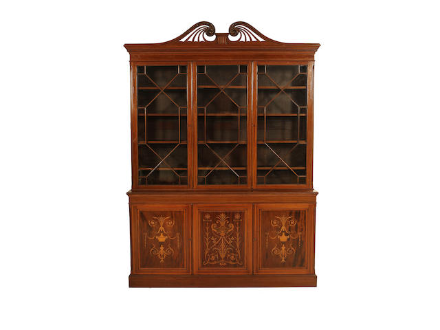 A late Victorian mahogany, satinwood banded and fruitwood inlaid library bookcase
