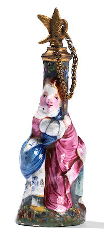 A very rare South Staffordshire enamel scent bottle, circa 1765