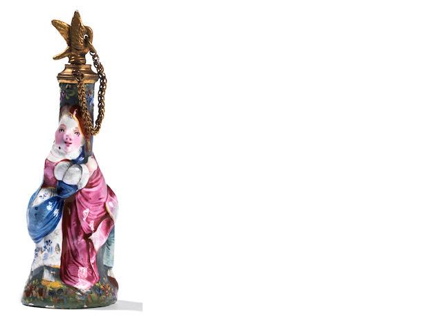 Scent bottle, Connedia del Arte figures (repaired)