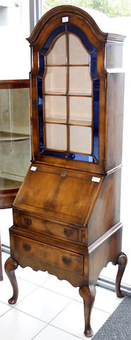A walnut bureau bookcase,