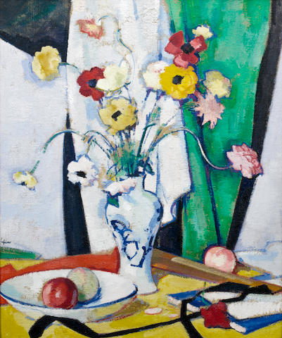 Samuel John Peploe, RSA (British, 1871-1935) Still Life with Flowers, Fruit and Fan 61 x 51 cm. (24 x 20 in.)