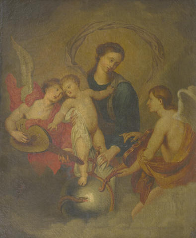 Circle of Balthasar Beschey (Antwerp 1708-1776) The Madonna and Child surrounded by angels making music
