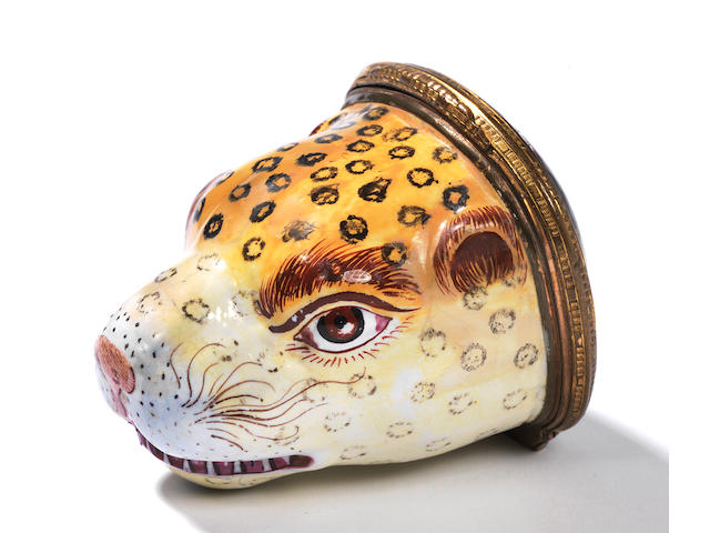 Leopard head large Bonbonniere (double lid)(repaired with cracks)
