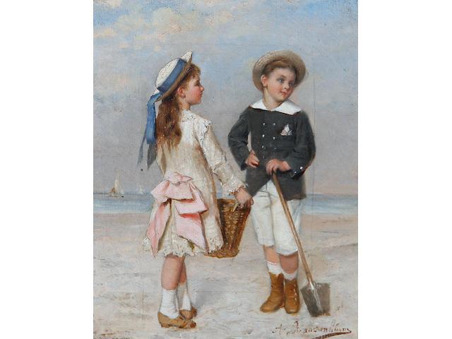 Albert Roosenboom (Belgian, 1845-1873) A day at the beach
