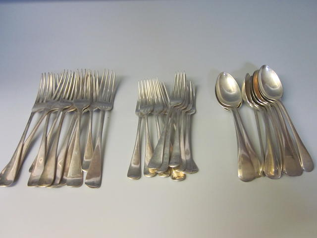 A composite canteen of Old English pattern flatware, Sheffield 1910, 1905, 1931, mixed dates and makers,