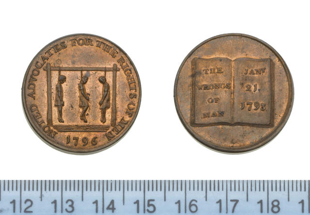 Eighteenth Century Tokens, LONDON, Holborn. Spence's 'Hanged Men' 1/2d. 1796 (three men on a gallows [prob. Thomas Paine, Thomas Spence and Thomas Hardy/Book 'The Wrongs of Man' [parody of Paine's 'Rights of man']). D&H 838; Spences 'Hanged Man' 1/4d. undated (Man on gallows 'The end of Paine'/Pandora's breeches) D&H 1110,