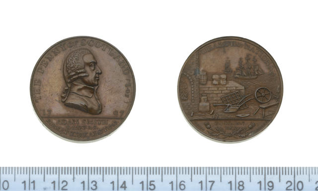 Eighteenth Century Token, Scotland, KIRKCALDY. Kempson's Adam Smith penny 1797 (bust of Smith r./scene of the 'Wealth of Nations'). D&H.1,