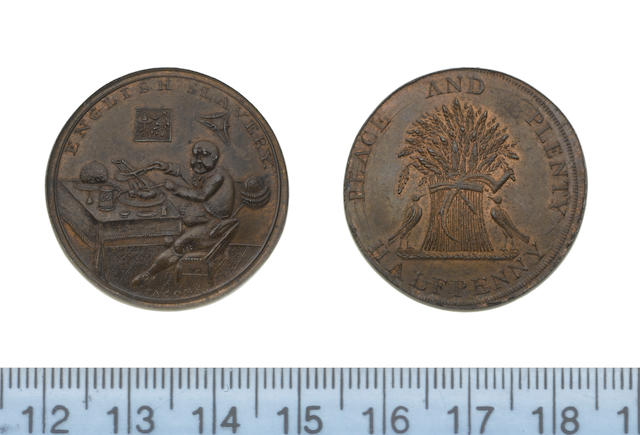 Eighteenth Century Token, Ireland, MUNSTER, Prattent's mule 1/2d. undated ('English Slavery' - a fat man eating a plate of chops and plum-pudding/doves and wheatsheaf) (D&H 14); Prattent's mule 1/2d. undated ('French Liberty' - a lean man next to a guillotine gnawing a bone, with a plate of frogs' legs/plain wheatsheaf) (D&H Cambs, 21),