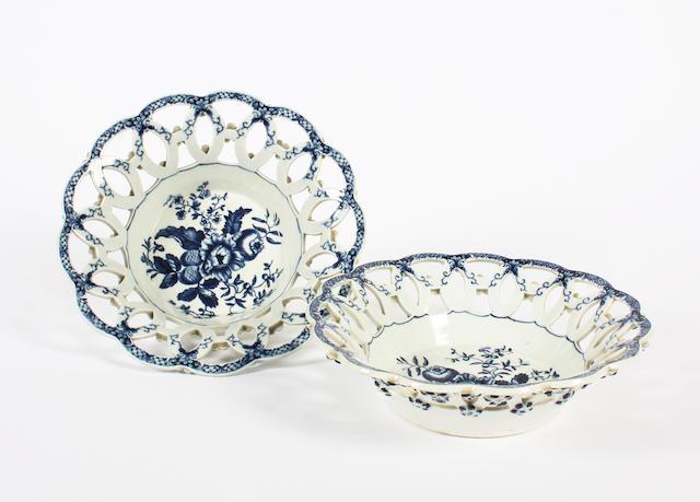 A pair of Worcester pierced dessert baskets, circa 1770