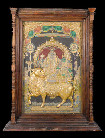 A large mid 19th century temple cabinet depicting Siva, Parvati and Nandi, Tanjore, South India