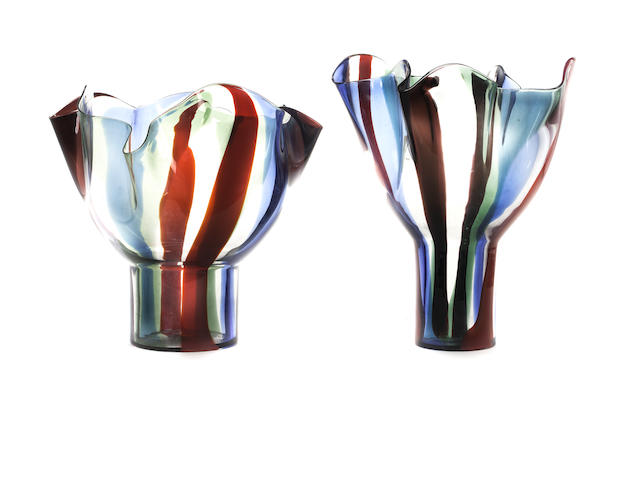 Two Venetian coloured glass handkerchief vases made by Venini, Murano, Italy