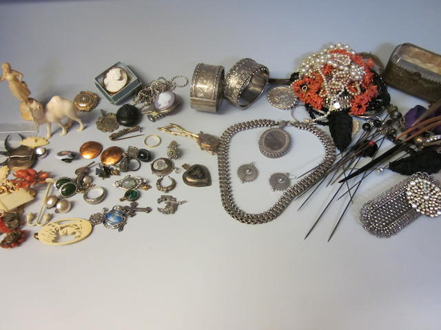 A Victorian silver locket and collar, (Qty)