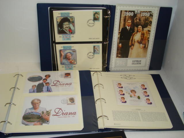 Stamps - The Diana, Princess of Wales Memorial Collection, three albums of coin First Day Covers, mini sheets, sets of stamps and covers of the Commonwealth and another of Philatelic tribute to HM Queen Elizabeth The Queen Mother.