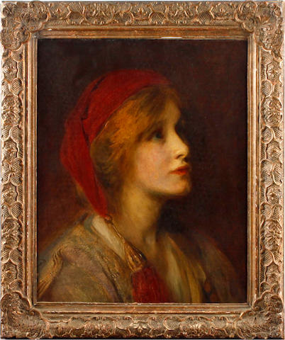 Charles A. Buchel (British, 1872-1950) Portrait of a young girl