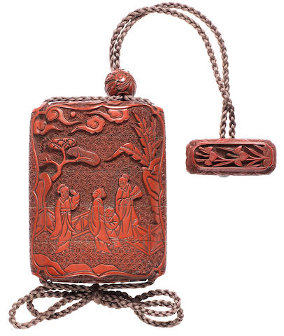 2A tsuishu (carved red lacquer) four-case inro 18th century