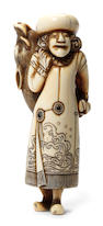 A fine and rare ivory netsuke of a Dutchman Kyoto, late 18th century