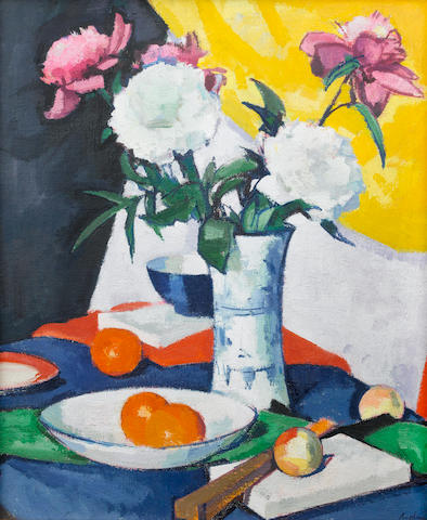Samuel John Peploe, RSA (British, 1871-1935) Flowers and Fruit 61 x 50.8 cm. (24 x 20 in.)