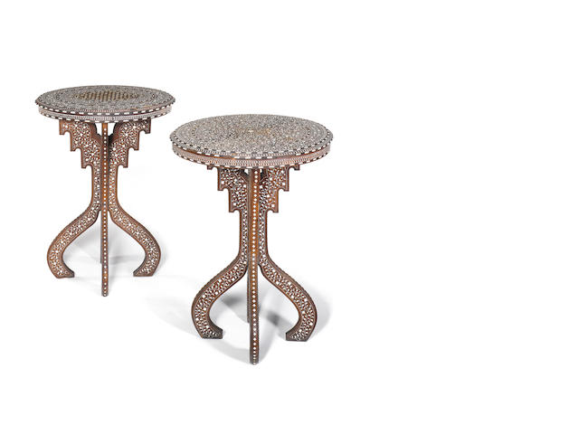 A pair of Indian late 19th century teak and bone inlaid occasional tables