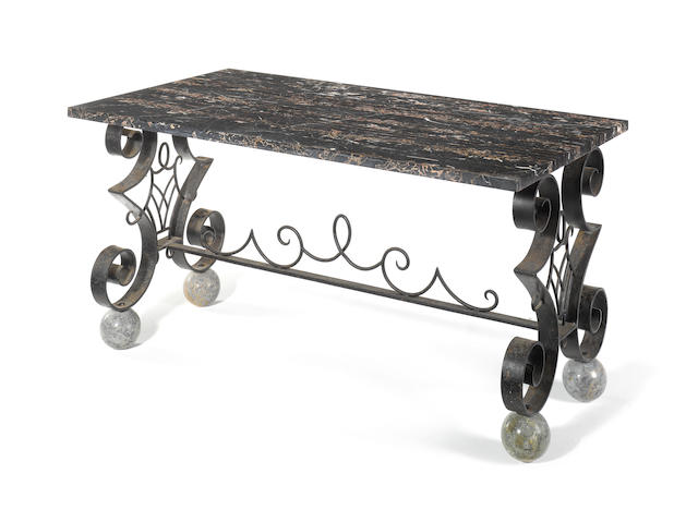 A French late 19th century wrought iron butcher's table