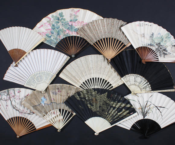 A group of Oriental fans, 19th-20th century
