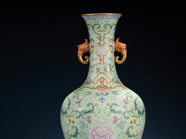 A famille rose turquoise-ground vase Qianlong seal mark