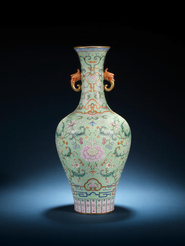 A magnificent famille rose turquoise-ground vase Qianlong seal mark