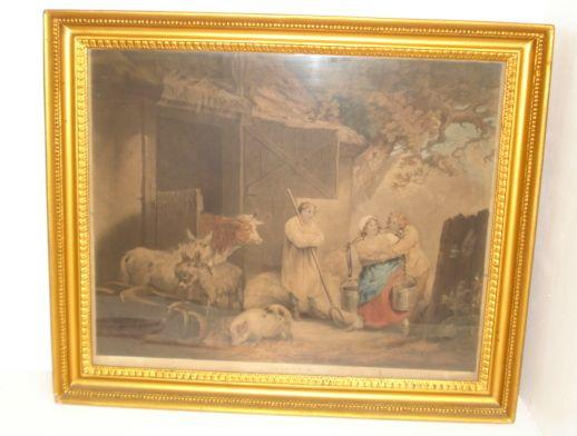 Joseph Grozeer after George Morland - Morning of the Benevolent Sportsman, hand coloured engraving, verre eglomise mount, 52.5 x 64cm, also a companion, a pair and another The Barn Door. (3)