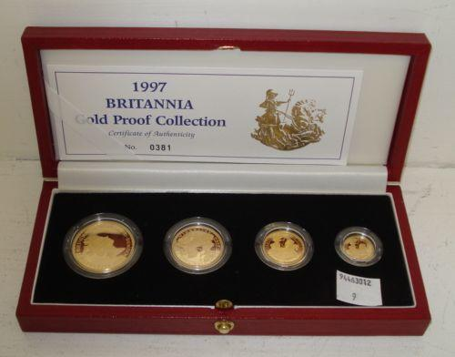 A United Kingdom Britannia 1997 Gold Proof Collection, the £100, £50, £25 & £10 coins in fitted Royal Mint case.