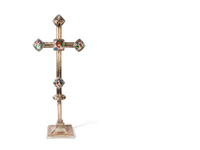 A silver -plated and enamel crucifix by Phoebe Traquair