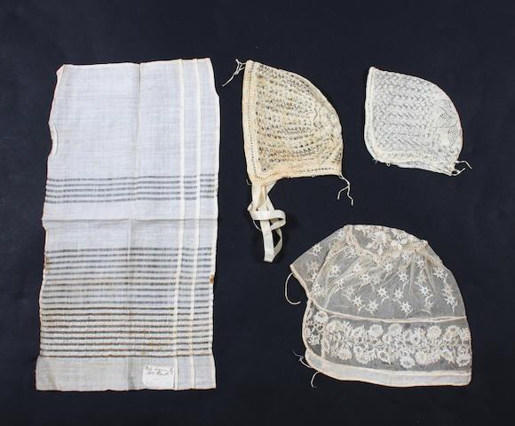 Twelve 19th century baby caps