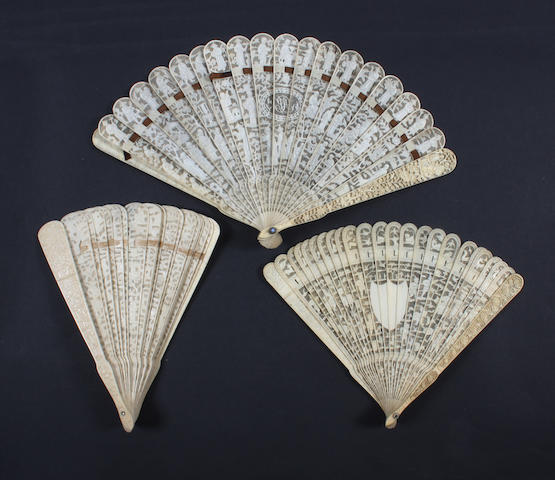 Three Chinese 19th century ivory fans