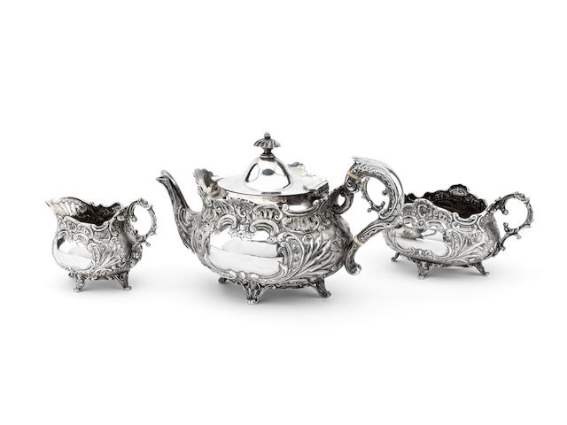 A Victorian three piece bachelor's silver tea service By John Alexander Fettes, Glasgow 1898