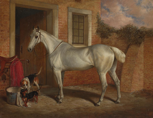 Robert Nightingale (British, 1815-1895) A portrait of hunter 'Mare Snowdrift and hounds Galloper and Tommy' 70 x 91cm