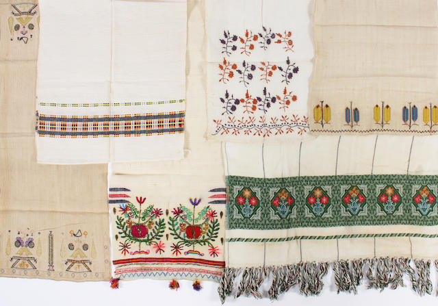 Six Turkish embroidered towels, 19th century