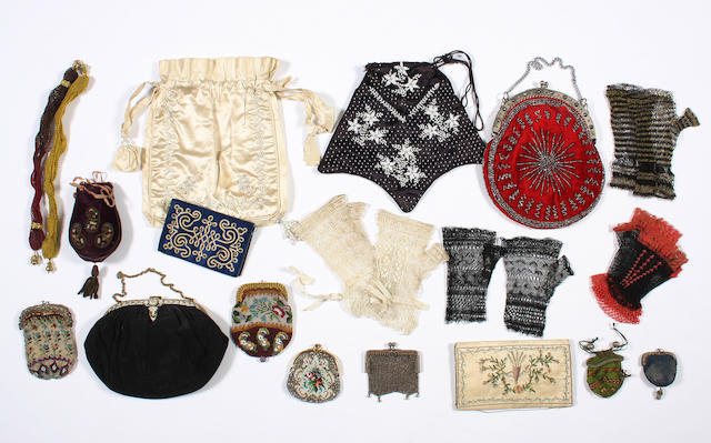 A group of 19th and early 20th century purses and mittens