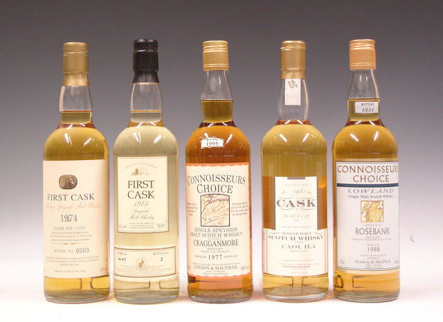 Aberlour-19 year old-1974Glenrothes-21 year old-1975Cragganmore-1977Caol Ila-1981Rosebank-1988