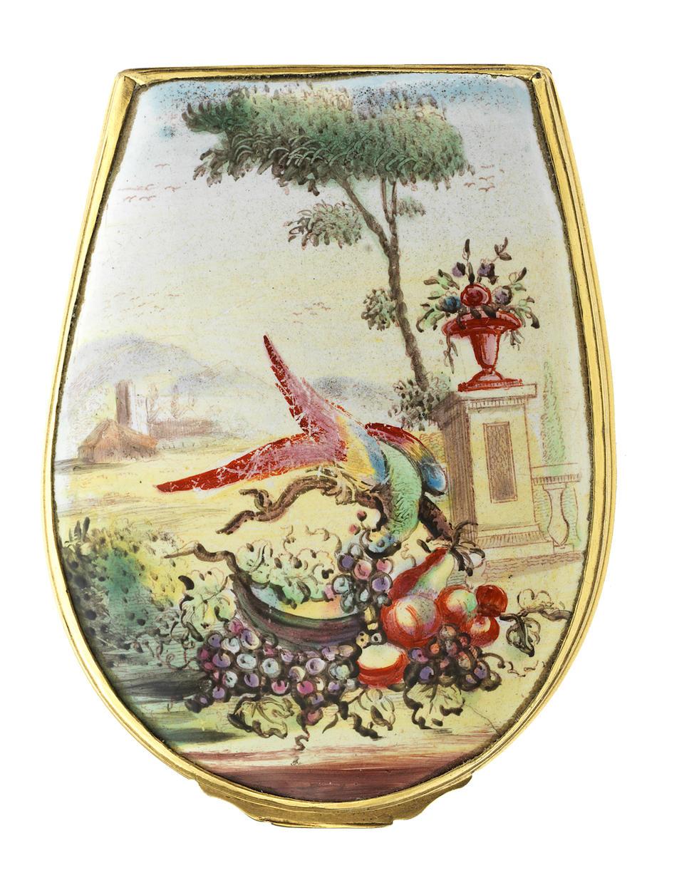 A fine Birmingham or South Staffordshire enamel bonbonnière, circa 1760