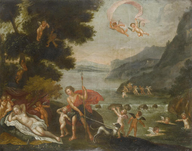 Follower of Francesco Albani (Bologna 1578-1660) Diana and Acteon