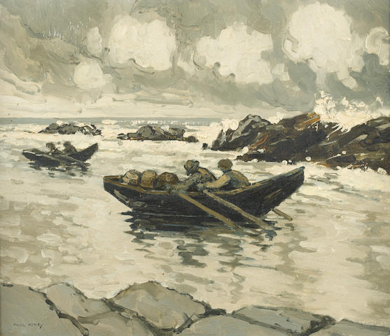 Paul Henry R.H.A. (Irish, 1876-1958) Running for Shelter 35.5 x 40.5 cm. (14 x 16 in.)