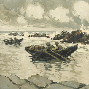 Paul Henry R.H.A. (1876-1958) Running for Shelter 35.5 x 40.5 cm. (14 x 16 in.)