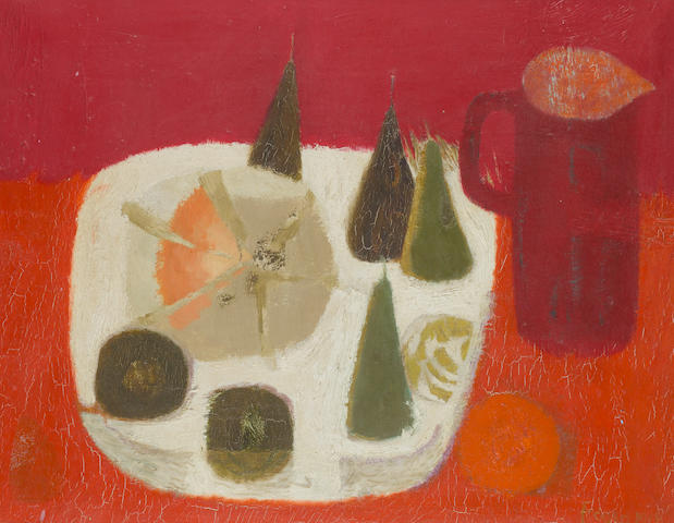 Mary Fedden R.A. (British, born 1915) Red Jug 61 x 76 cm. (24 x 30 in.)