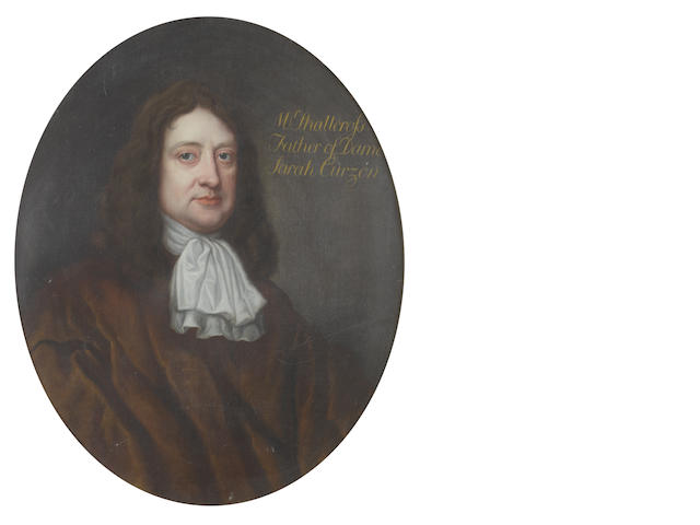 Circle of John Hayls (active England, circa 1600-1679) Portrait of Mr Shallcross, bust-length, in a brown coat and a white jabot