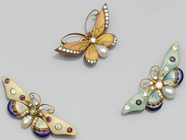 Three enamel and gem set butterfly brooches (3)