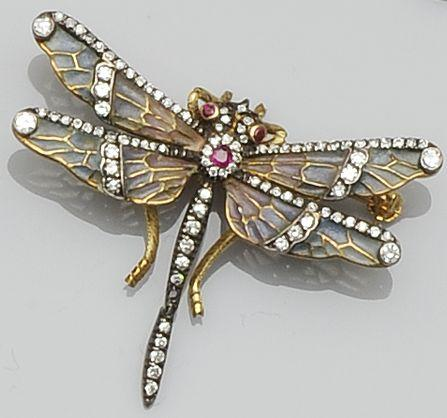 An enamel and gem set dragonfly brooch