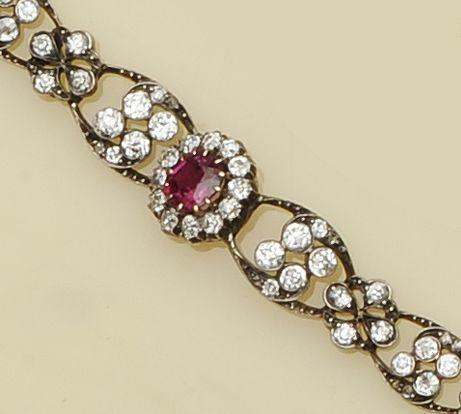 A late 19th century ruby and diamond bracelet