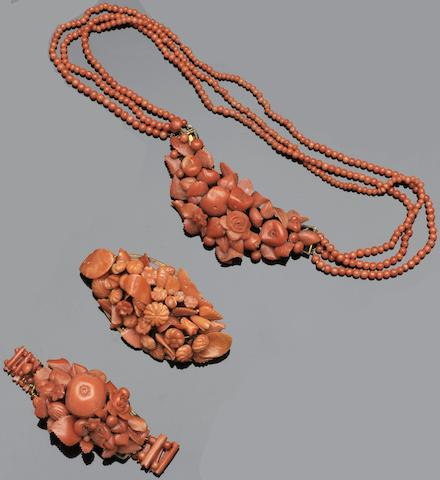 A mid-19th century coral matched jewellery suite