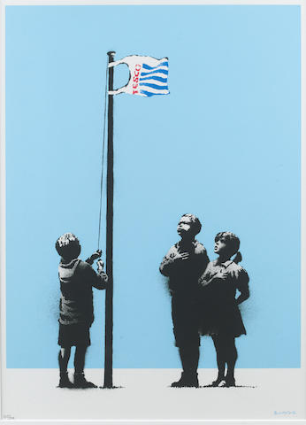 Banksy (b.1975) Very Little Helps signed and numbered 203/299 screenprint on paper 50.6 by 37.4 cm. 19 15/16 by 14 3/4 in. This work was executed in 2008.