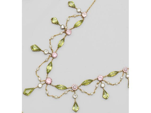An Edwardian peridot, pink tourmaline and seed pearl fringe necklace